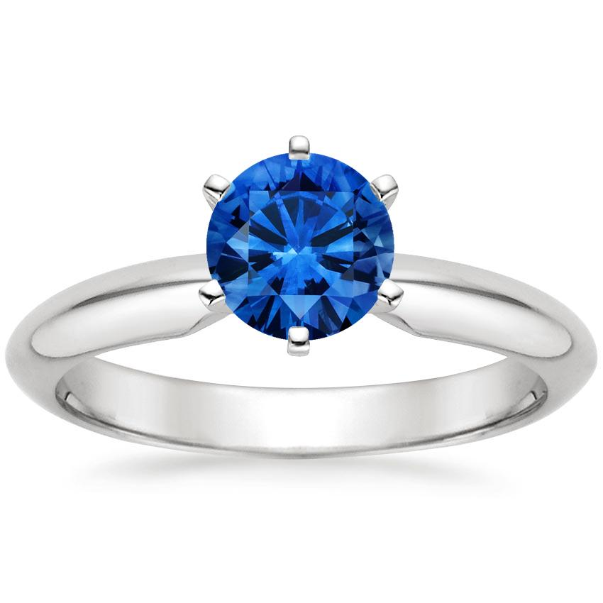 Sapphire Six-Prong Classic Ring in 18K White Gold with 6mm Round Blue Sapphire