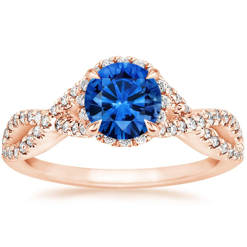 Sapphire Entwined Halo Diamond Ring In 14k Rose Gold