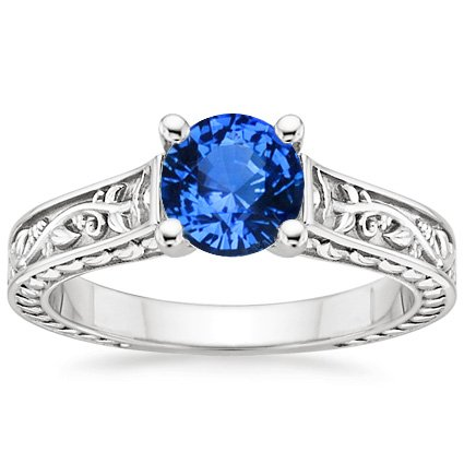 Sapphire Jardinière Ring in Platinum with 6mm Round Blue Sapphire