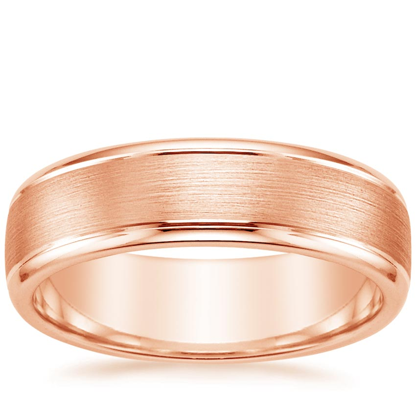 14K Rose Gold Beveled Edge Matte Wedding Ring with Grooves, top view