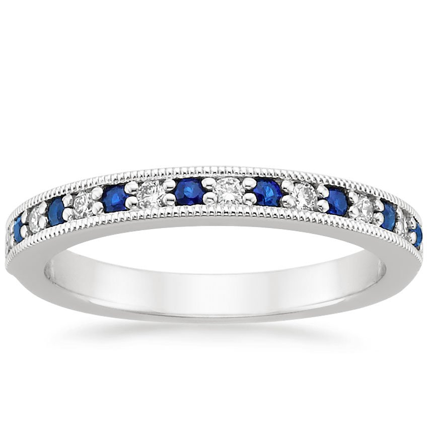 18k White Gold Pav 233 Milgrain Diamond And Sapphire Ring