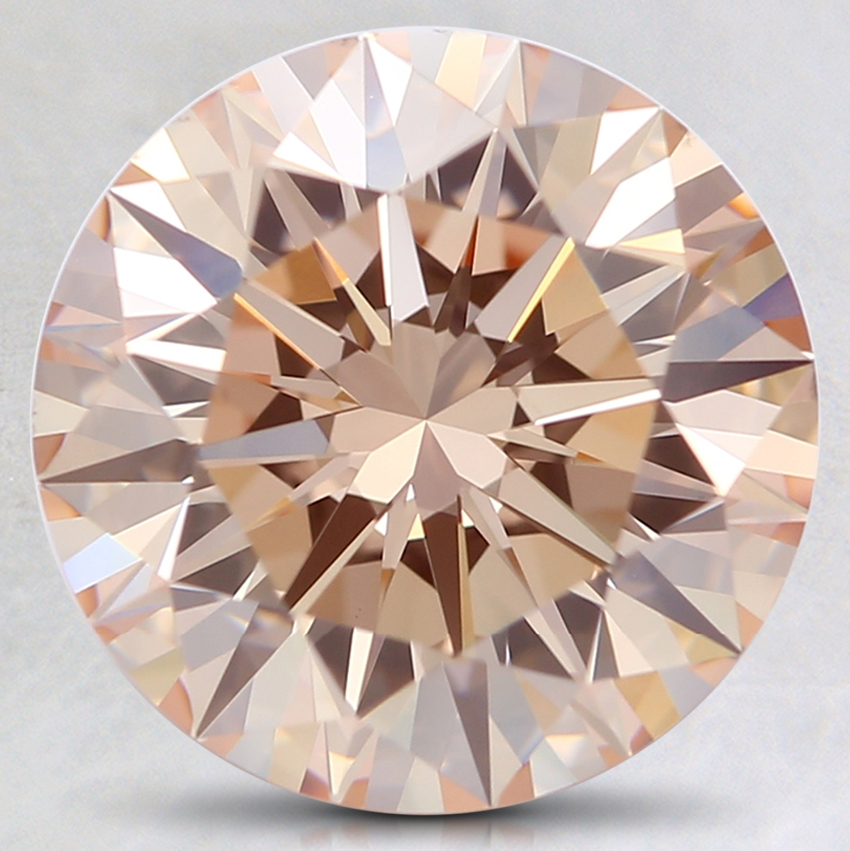 3.22 Ct. Fancy Light Orangy Pink Round Lab Created Diamond