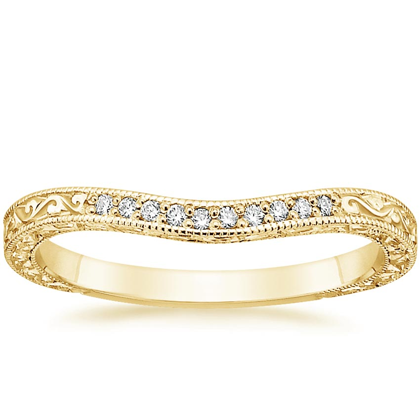 Yellow Gold Three Stone Antique Curved Wedding Ring