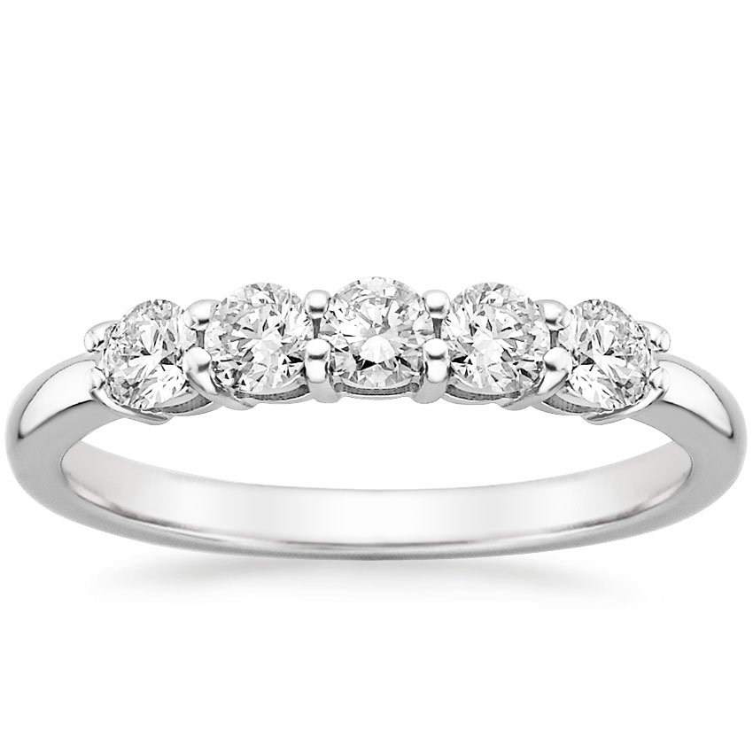 18K White Gold Five Diamond Ring (1/2 ct. tw.), top view