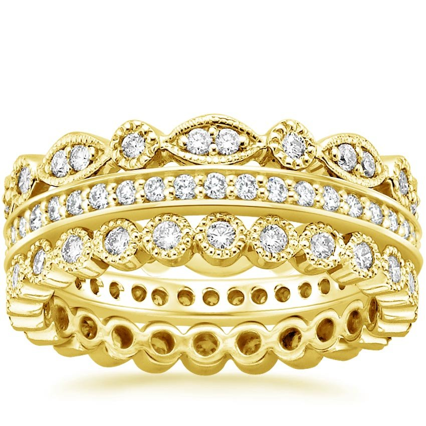 18K Yellow Gold Luxe Antique Eternity Diamond Ring Stack (1 ct. tw.), top view