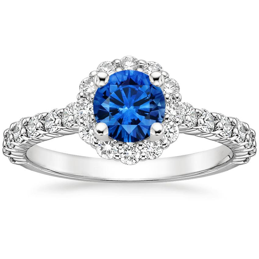 Sapphire Lotus Flower Diamond Ring With Side Stones In
