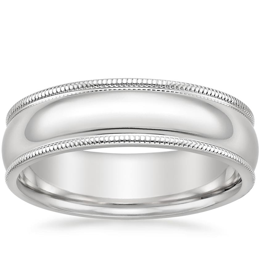 6mm Milgrain Wedding Ring in Platinum