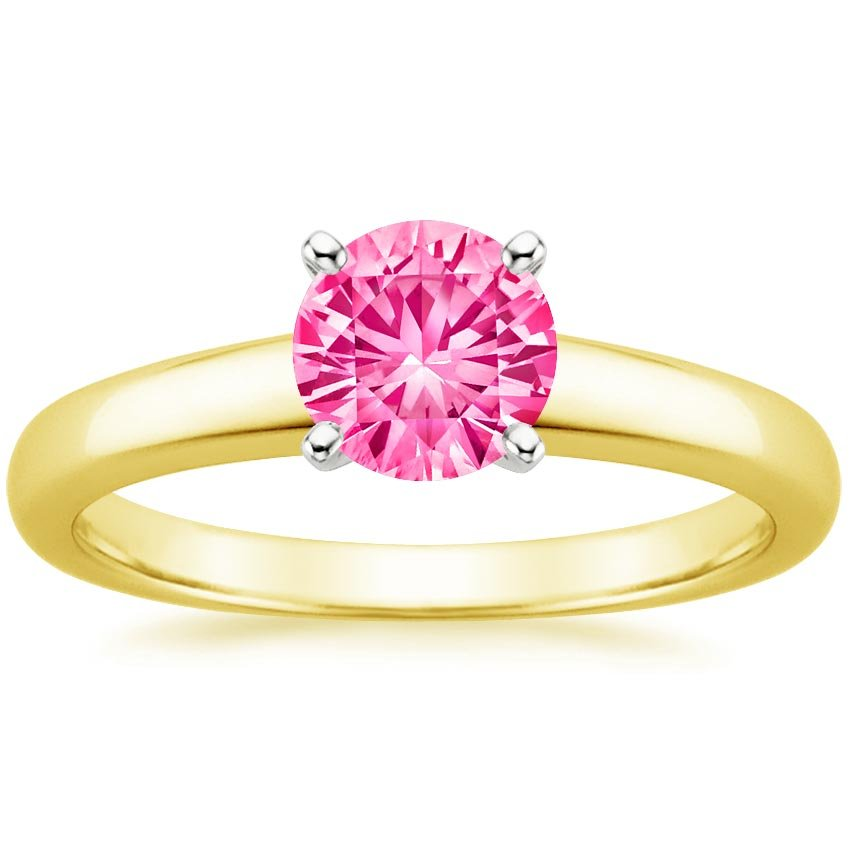 Sapphire 3mm Comfort Fit Ring in 18K Yellow Gold with 6mm Round Pink Sapphire