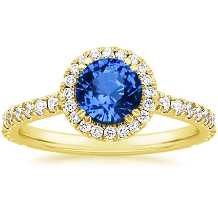 Sapphire Ingénue Ring in 18K Yellow Gold with 6mm Round Blue Sapphire