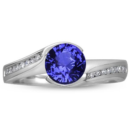 18K White Gold Sapphire Cascade Ring with Channel Set Diamond Accents, top view