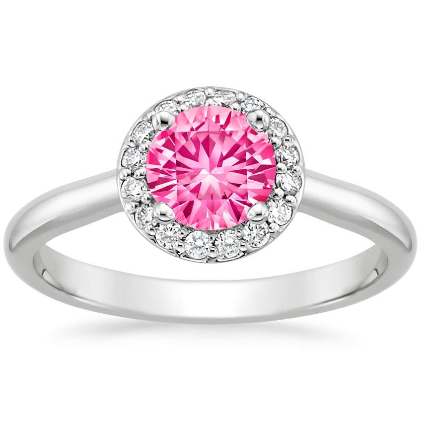 Sapphire Halo Diamond Ring in 18K White Gold with 6mm Round Pink Sapphire