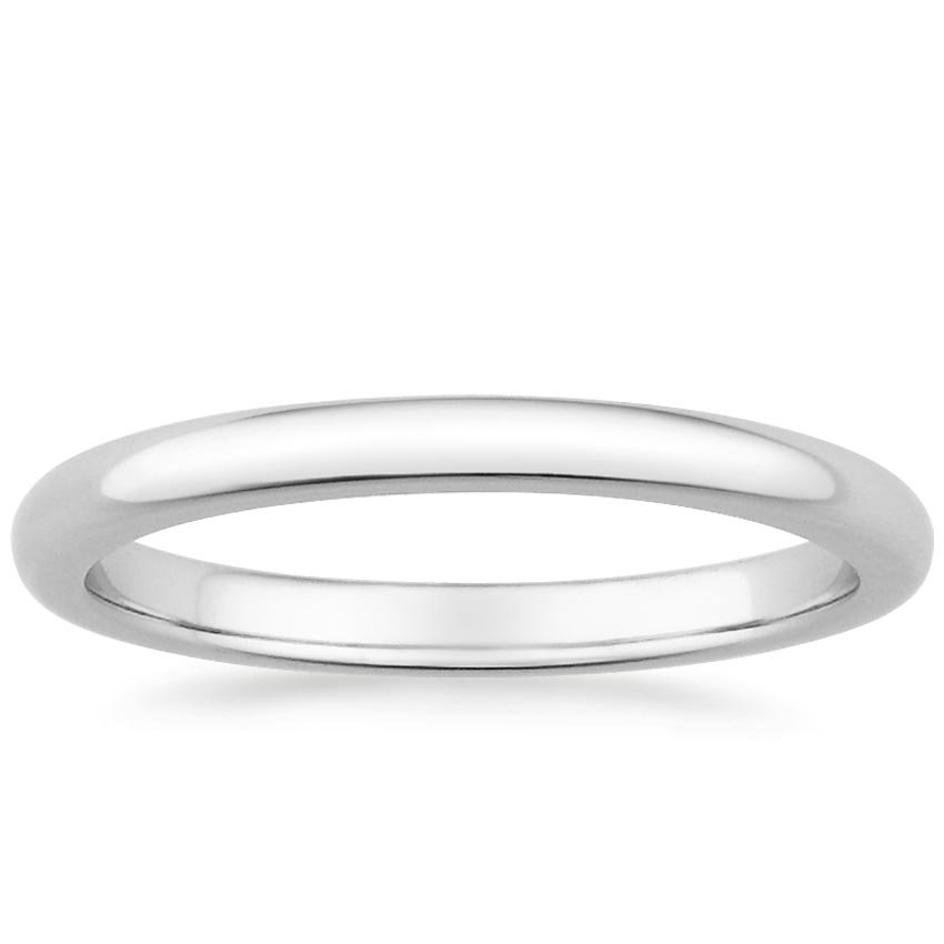 18K White Gold 2mm Comfort Fit Wedding Ring, top view