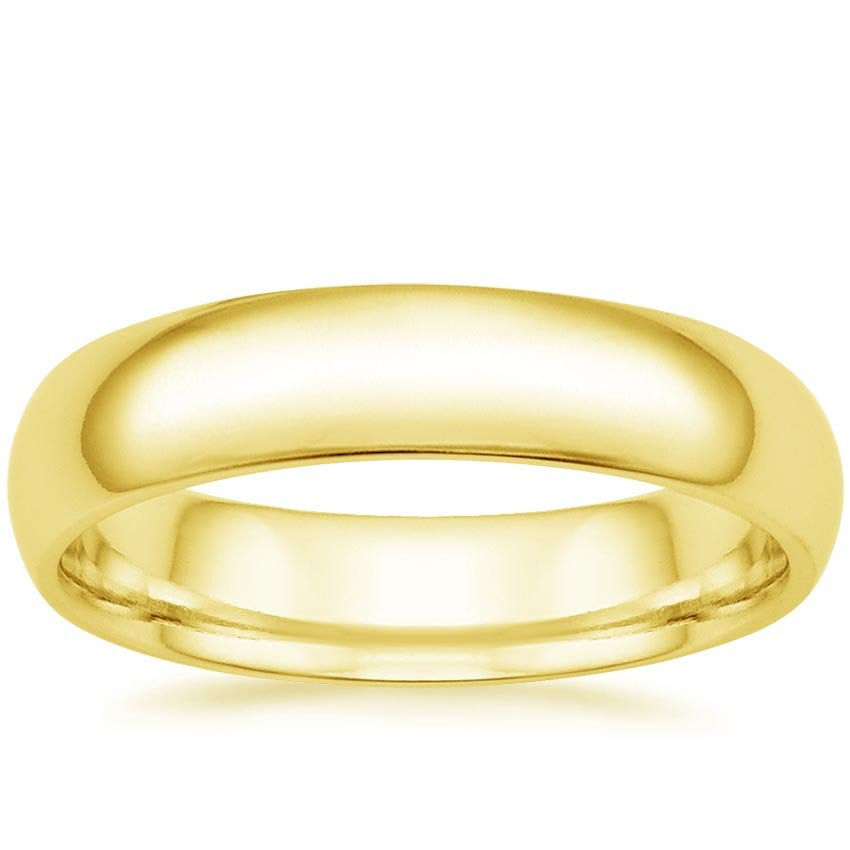 18K Yellow Gold 5mm Comfort Fit Wedding Ring, top view