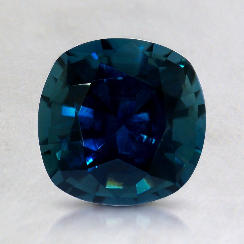 7mm Premium Teal Cushion Sapphire, top view
