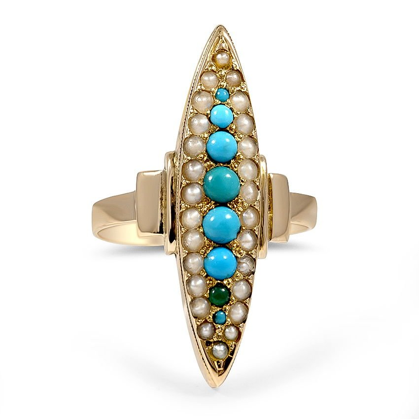 Victorian Turquoise Cocktail Ring