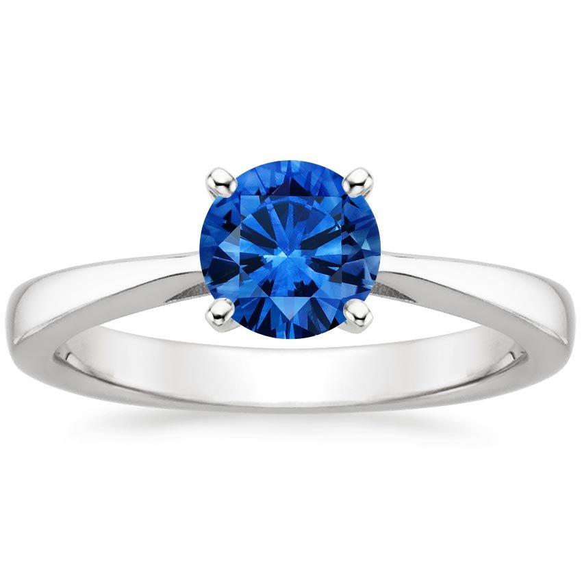 Platinum Sapphire Petite Tapered Trellis Ring, top view