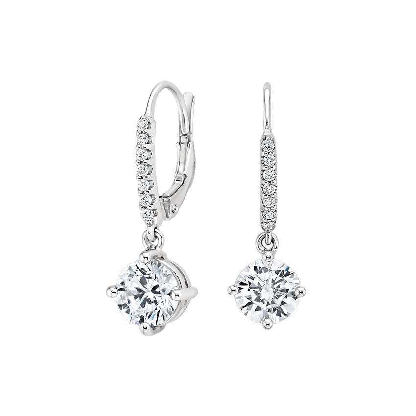 18K White Gold Compass Point Diamond Drop Earrings, top view