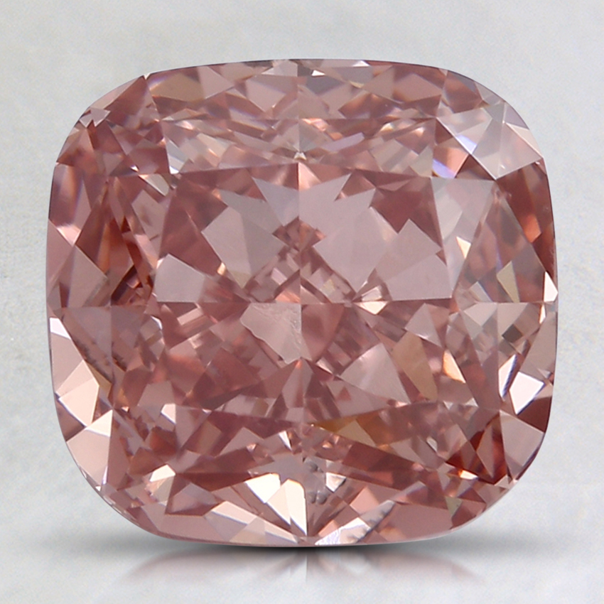 3.37 Ct. Fancy Vivid Orangy Pink Cushion Lab Created Diamond