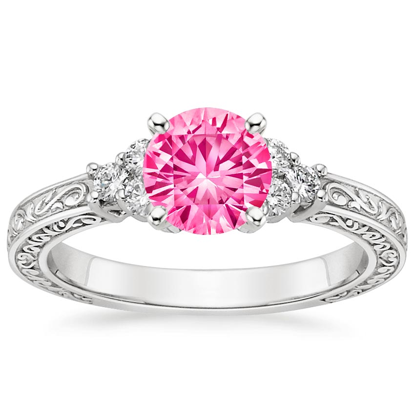 Sapphire Adorned Trio Diamond Ring in Platinum with 6mm Round Pink Sapphire