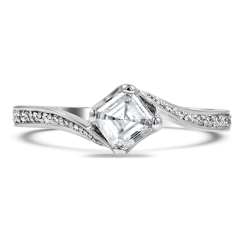 Custom Curved Compass Set Diamond Ring