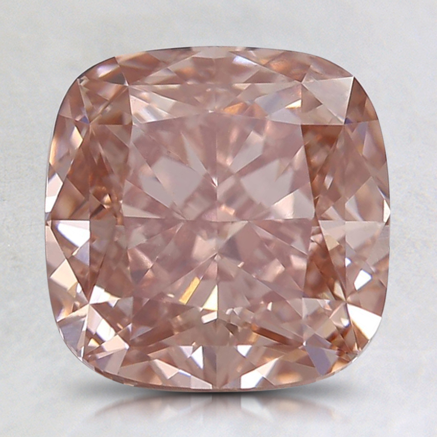 2.82 Ct. Fancy Intense Orangy Pink Cushion Lab Created Diamond
