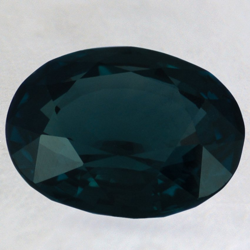 12x9.5mm Super Premium Green Oval Sapphire, top view