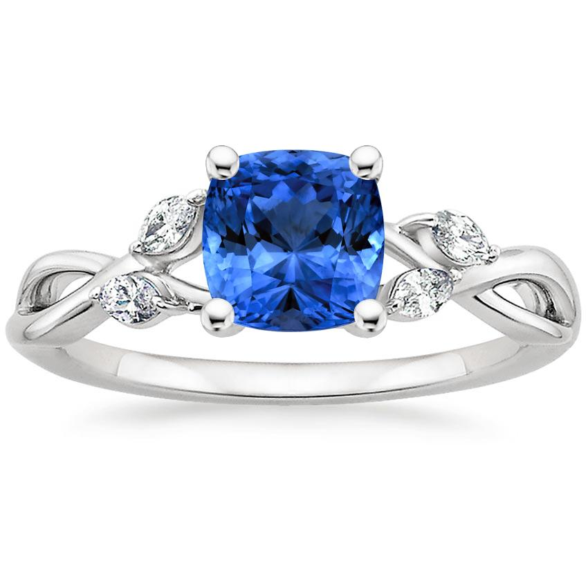 Sapphire Willow Diamond Ring (1/8 ct. tw.) in Platinum with 6x6mm Cushion Blue Sapphire