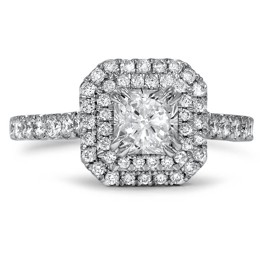 Custom Radiant Cut Double Halo Diamond Ring