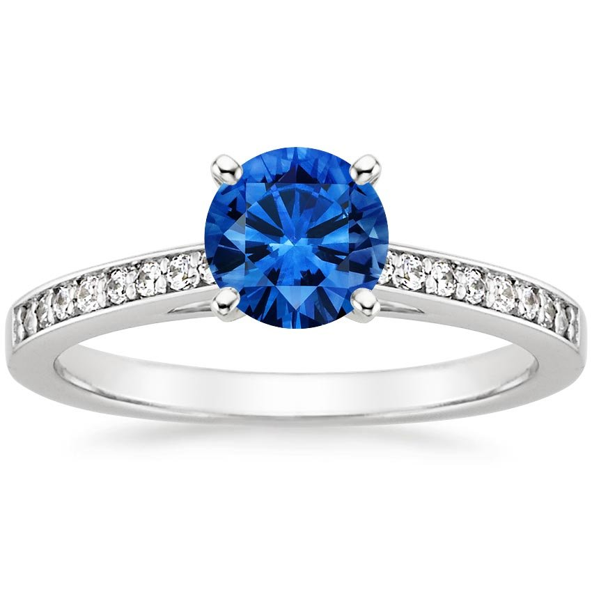 Platinum Sapphire Starlight Diamond Ring, top view