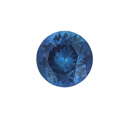6.9mm Teal Round Sapphire, top view