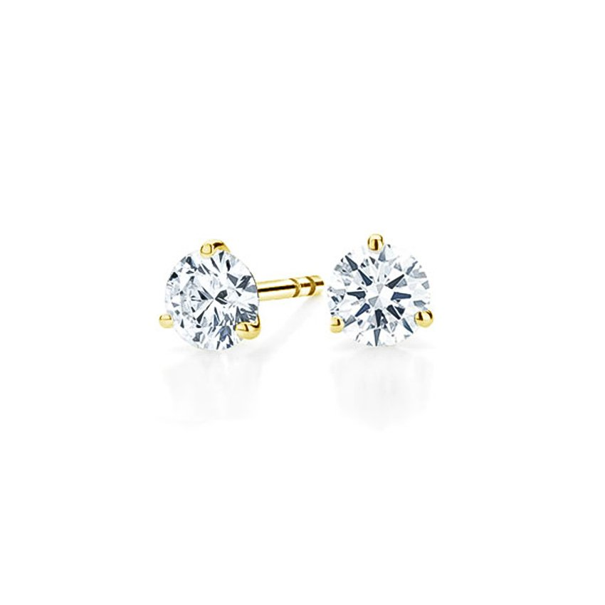 18K Yellow Gold Three-prong Martini Round Diamond Stud Earrings, top view