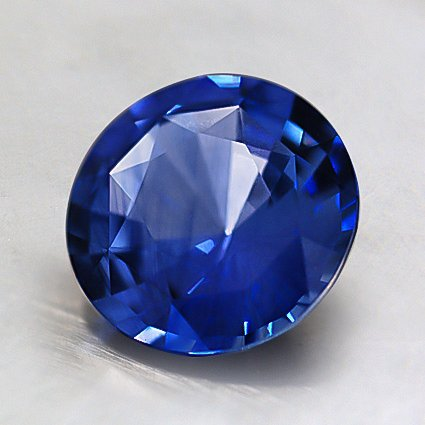 7.5mm Blue Round Sapphire, top view