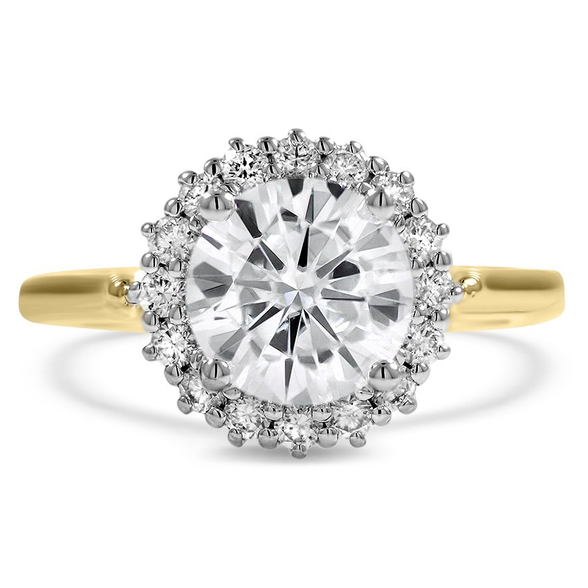 Top Twenty Custom Rings - TWO-TONE HALO ENGAGEMENT RING