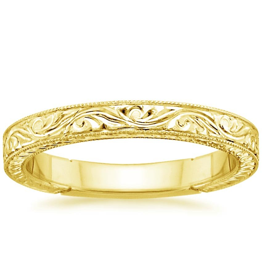 Hand engraved laurel ring in 18k yellow gold for Engravings on wedding rings
