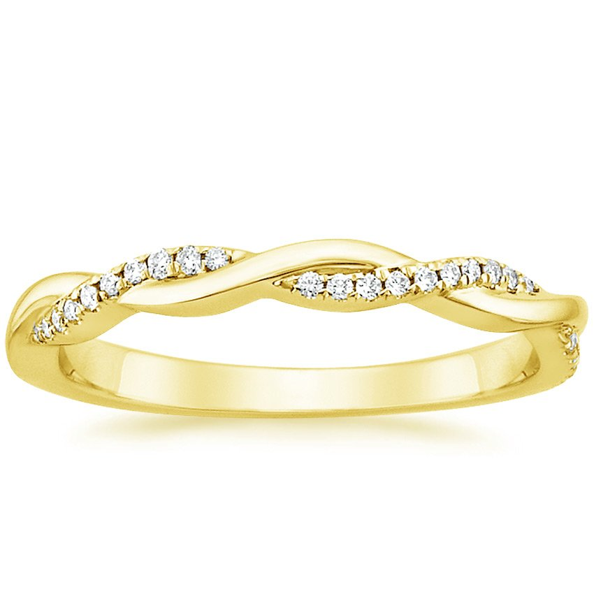 18K Yellow Gold Petite Twisted Vine Diamond Ring (1/8 ct. tw.), top view