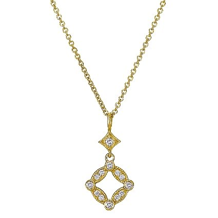18K Yellow Gold Tiara Diamond Pendant, top view