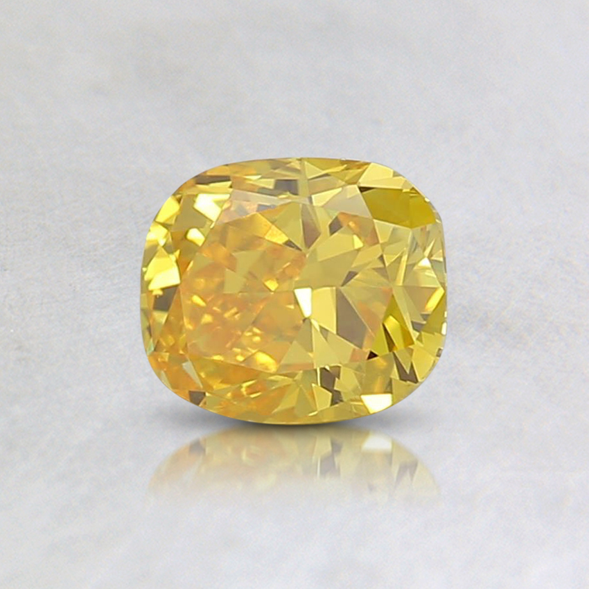 0.54 Ct. Fancy Intense Yellow Cushion Lab Created Diamond