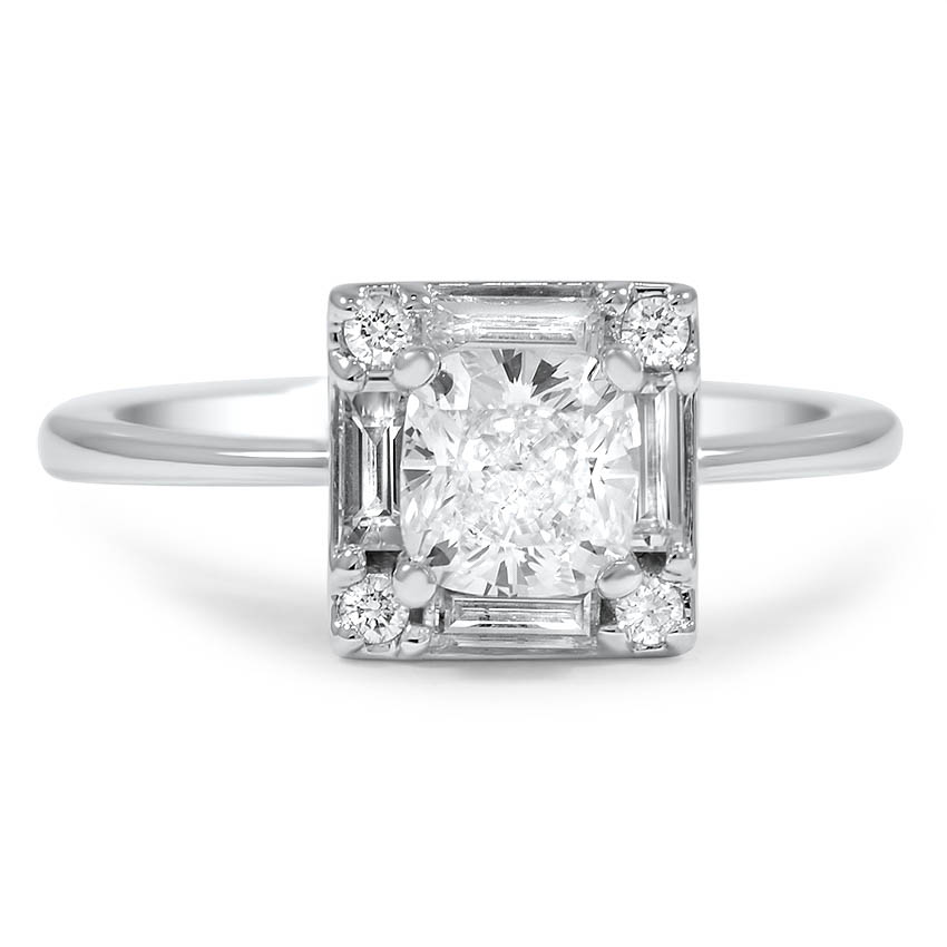 Custom Vintage Style Baguette Halo Diamond Ring