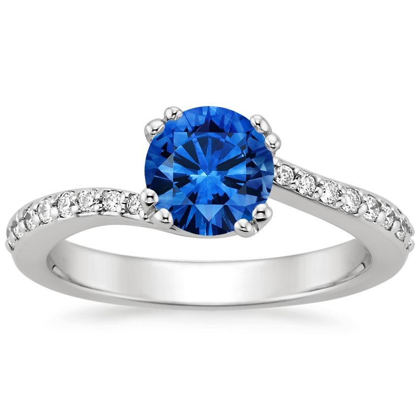 Sapphire Seacrest Ring with Diamond Accents in 18K White Gold with 6mm Round Blue Sapphire