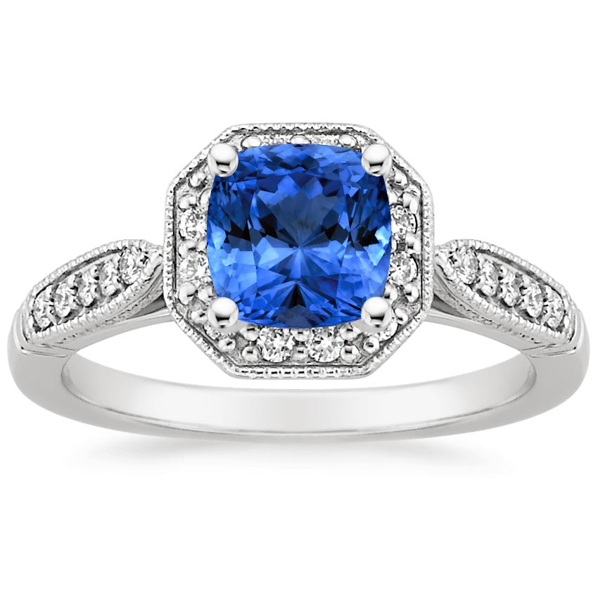 Sapphire Victorian Halo Diamond Ring in 18K White Gold with 6x6mm Cushion Blue Sapphire