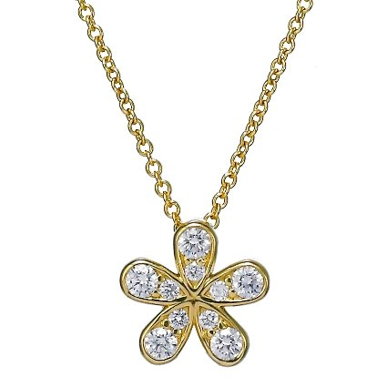 Diamond Flower Pendant (1/3 ct. tw.) in 18K Yellow Gold
