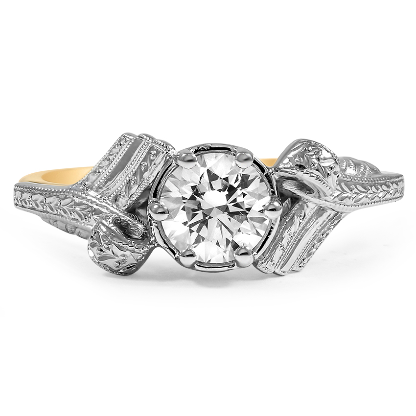 Custom Two Tone Antique Inspired Engagement Ring