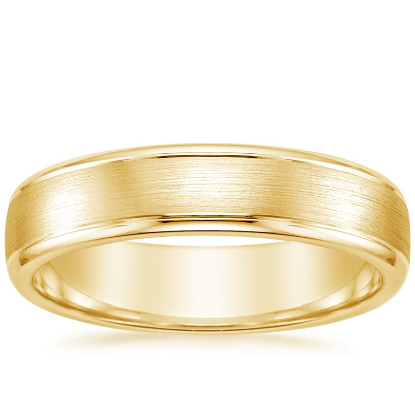 Yellow Gold 5mm Beveled Edge Matte Wedding Ring with Grooves