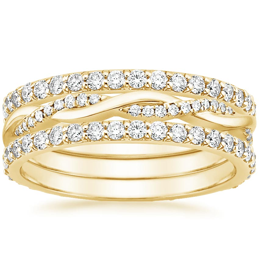 Yellow Gold Twisted Vine Diamond Ring Stack (1 1/4 ct. tw.)