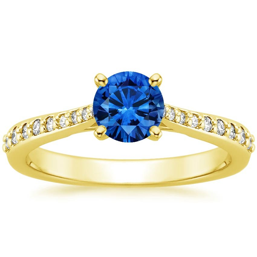 18K Yellow Gold Sapphire Geneva Ring, top view