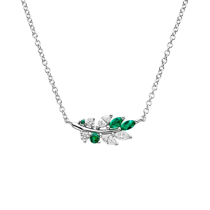 Lab Emerald and Diamond Olive Branch Pendant