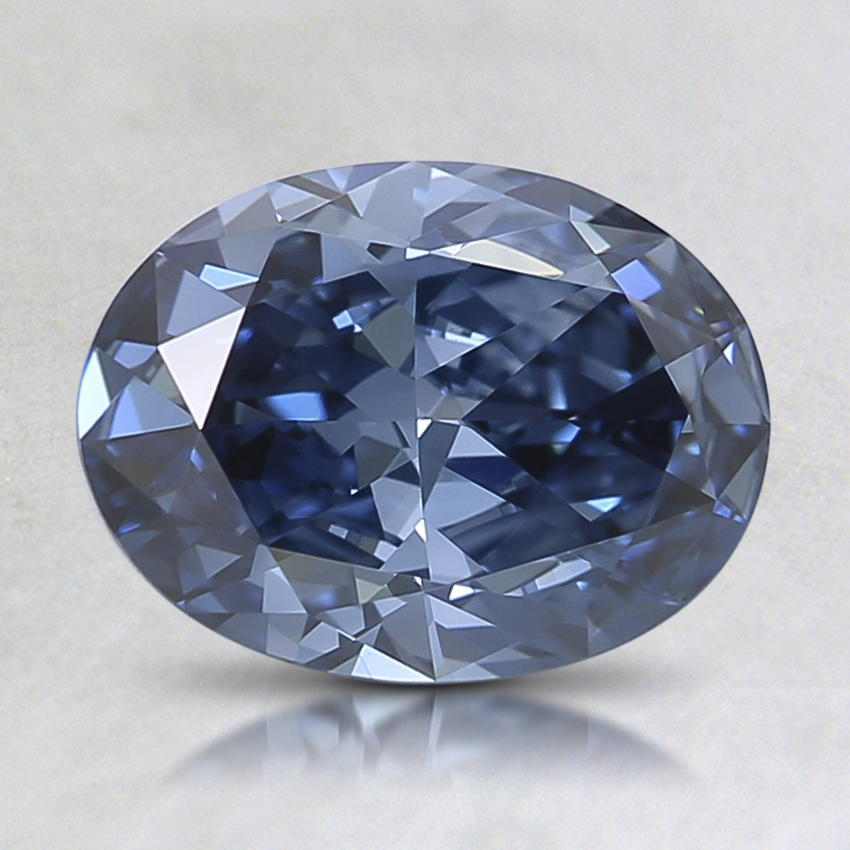 1.10 Ct. Lab Created Fancy Deep Blue Oval Diamond, top view