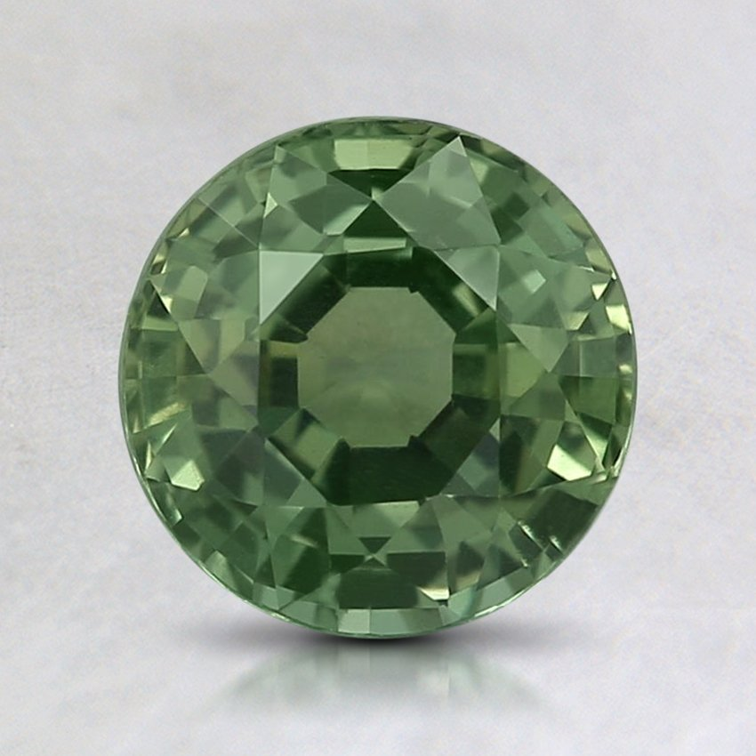 7mm Green Round Sapphire, top view