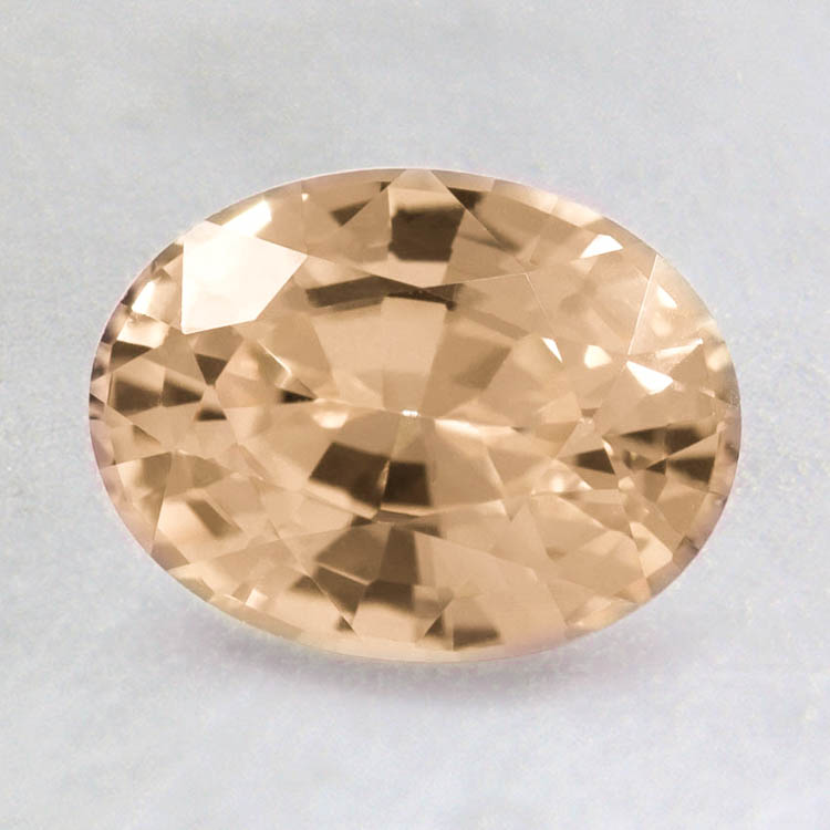 8x6mm Peach Oval Sapphire, top view