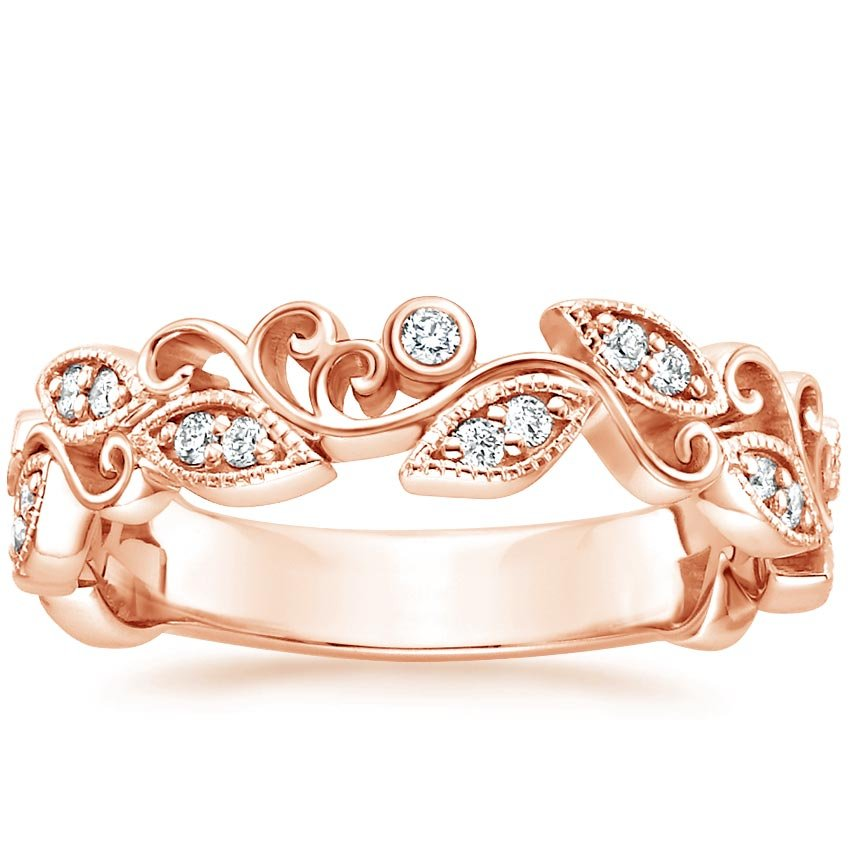 Ivy Scroll Diamond Ring In 14k Rose Gold